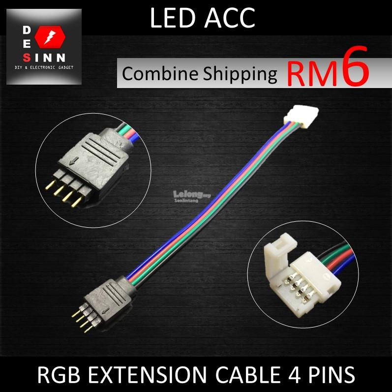 RGB EXTENSION CABLE 4 PIN MALE TO CLIP WIRE CABLE FOR 5050 LED STRIP