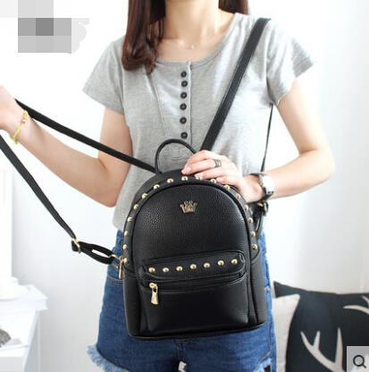 Rivet shoulder bag pu leather backpack