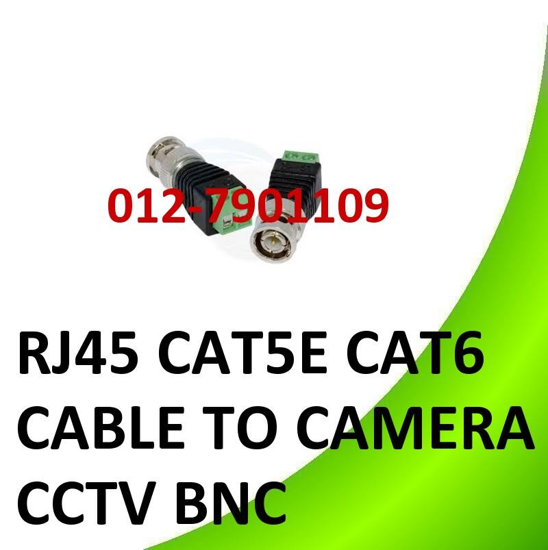 RJ45 CAT5E CAT6 CABLE TO CAMERA CCTV BNC VIDEO BALUM CONNECTOR