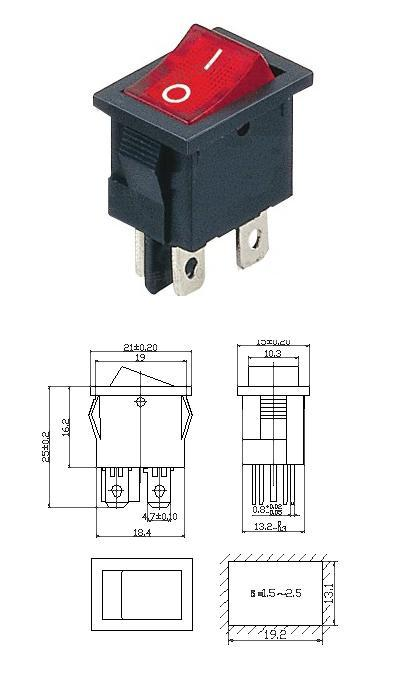 ROCKER ON/OFF SWITCH - AC 250V 6A with Lamp