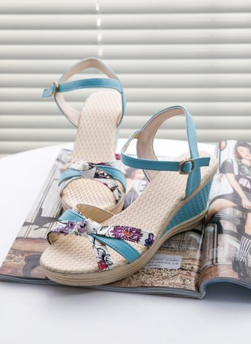 Rom Printing Wedge Sandals (Blue)