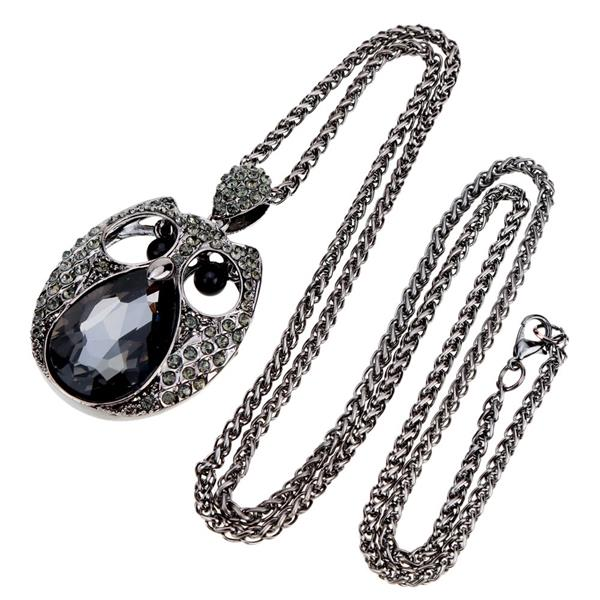 Romacci Shinning Cool black Owl Pendant Collar Chain Necklace Jewelry