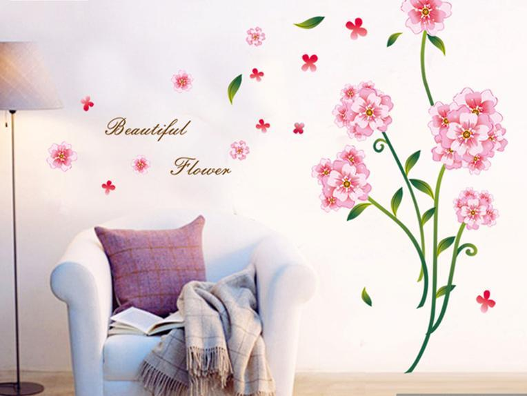 romantic wall sticker pink flower colourful & designers' series