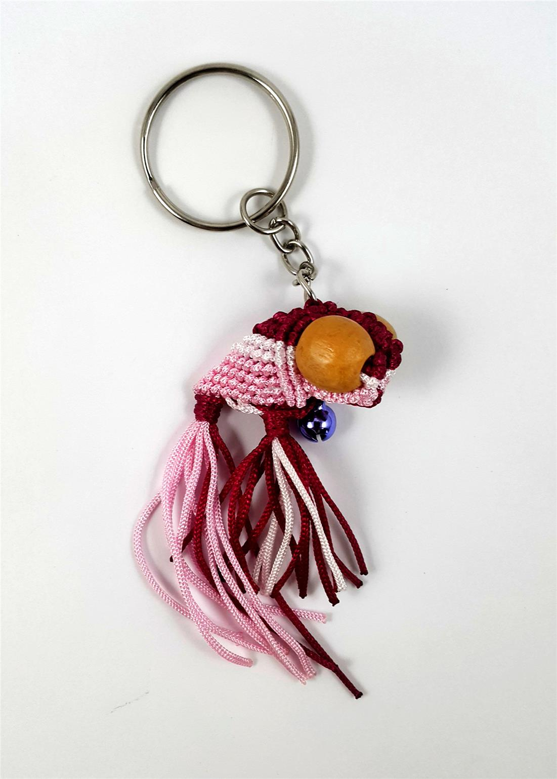 Rope Style Small Gold Fish Keychain(Red)