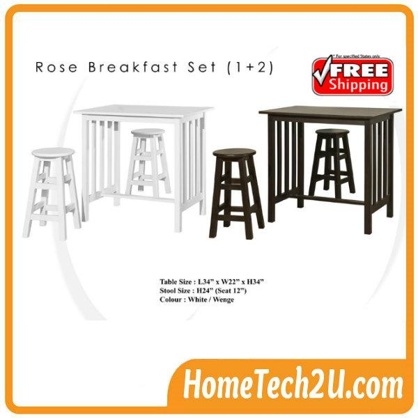 Rose Breakfast Table Set With 2 Stools 1 2