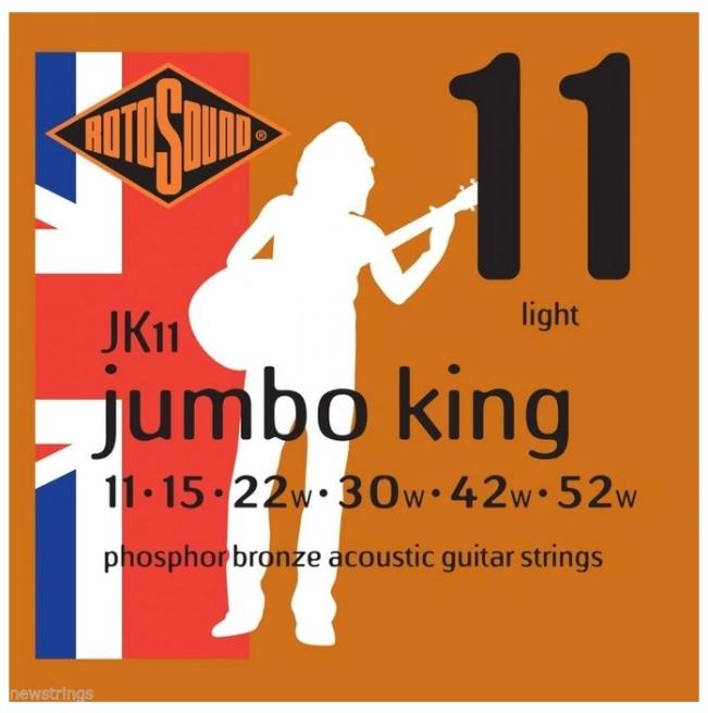 Rotosound JK11 Phosphor Bronze Acoustic Guitar Strings 11-52