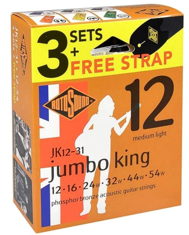 Rotosound Jumbo King JK12 Acoustic Strings 12-54 x3 Sets & Free Strap
