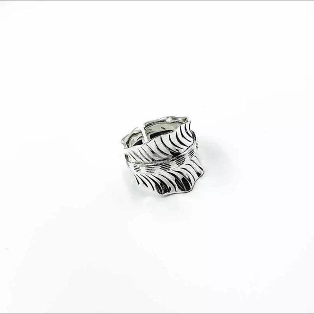 S999 Pure Silver Black Stripe Ring