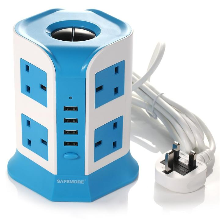 Safemore Surge 8 Socket+ 4 USB Protector Power - Blue (Sirim Approve)