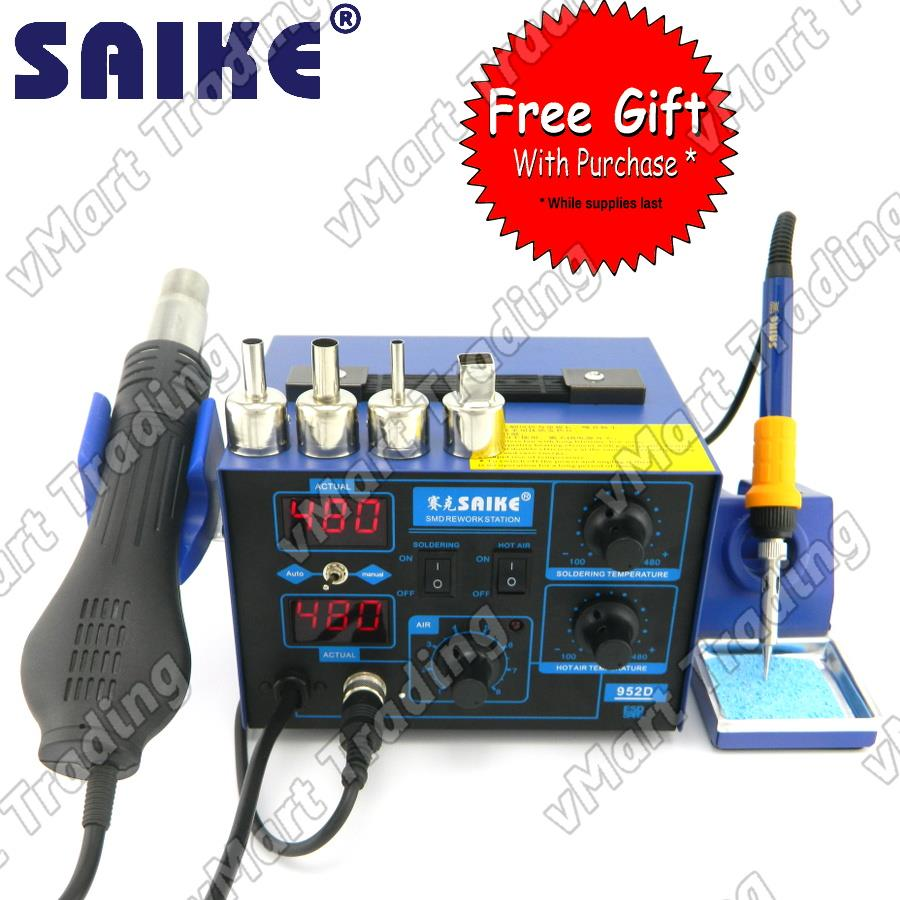 SAIKE 952D Digital Soldering and Hot Air Rework Station + FREE GIFTS