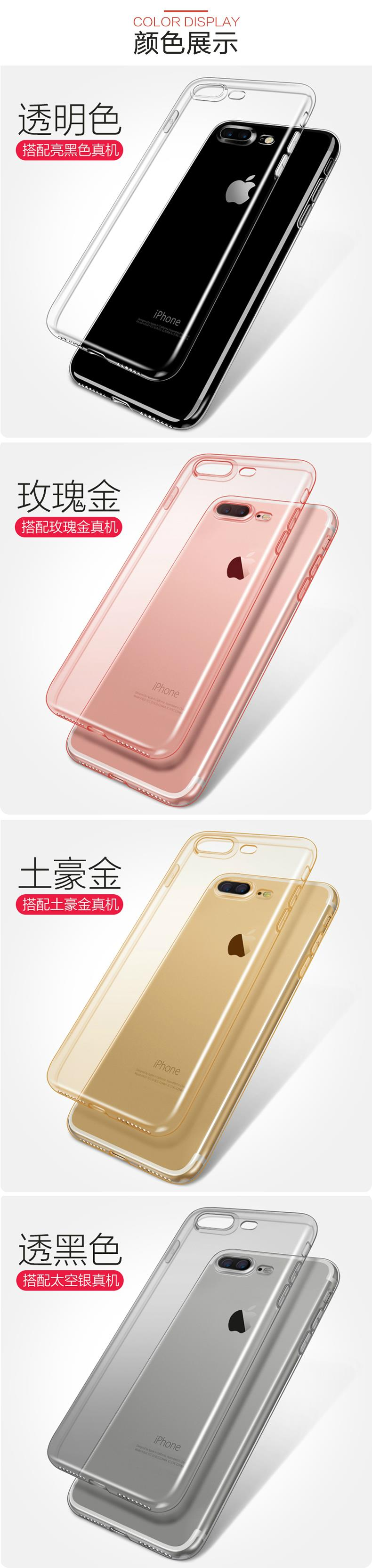 SAISKAI Iphone 7 Plus Ultra Slim Transparent TPU Case +Tempered Glass