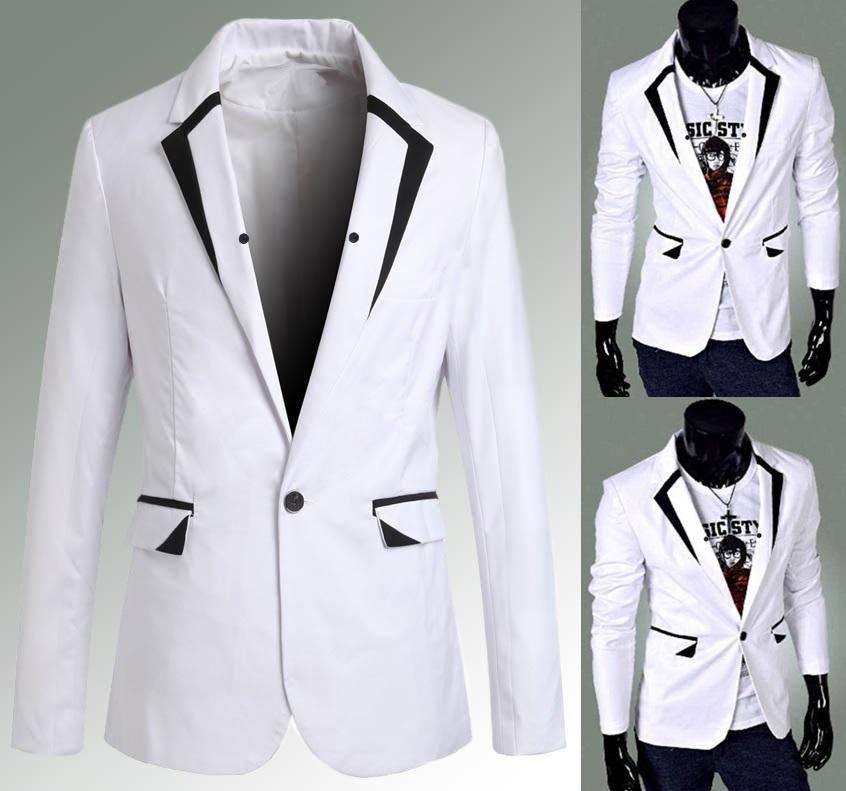 SALE!!! D.HOMME KOREAN STYLISH CONTRAST TRIM WEDDING WHITE BLAZER