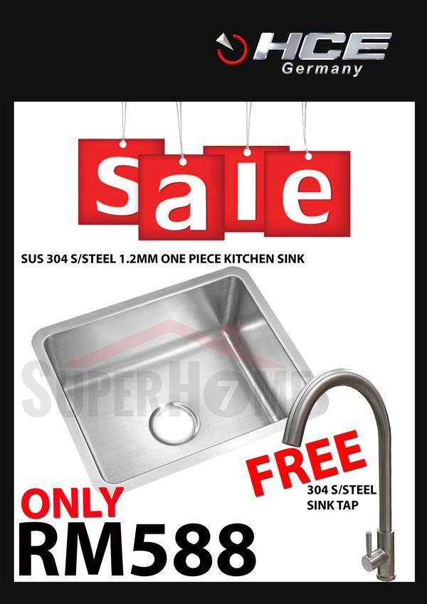 [SALE PACKAGE 2]-HCE-304 S/Steel Kitchen Sink-Free Sink Tap