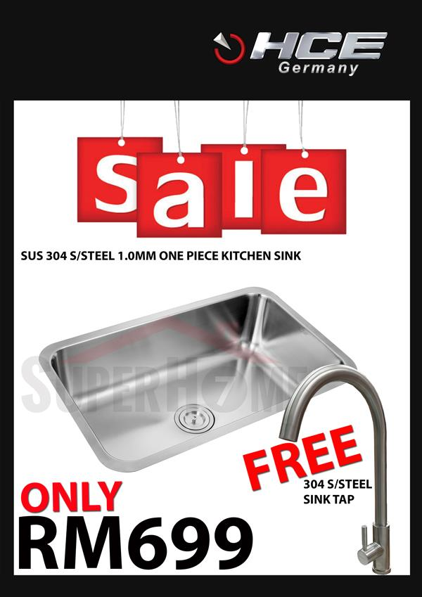 [SALE PACKAGE 3]-HCE-304 S/Steel Kitchen Sink-Free Sink Tap