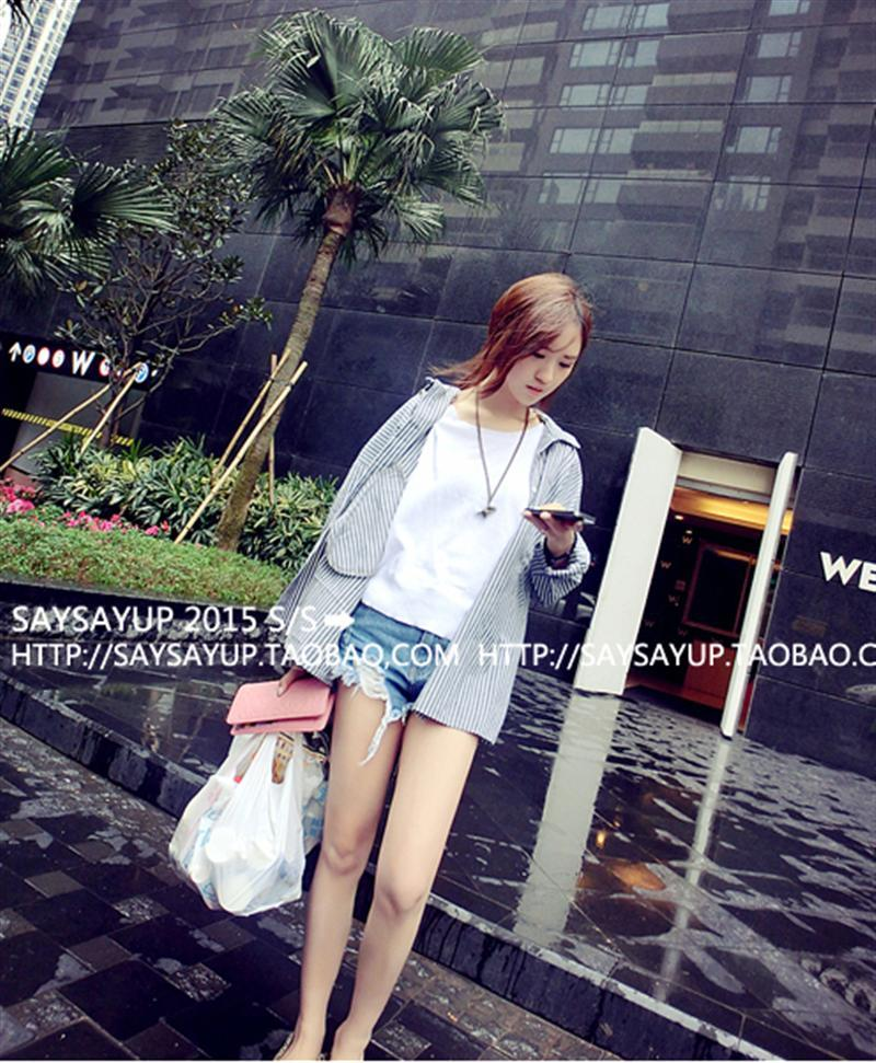 Sales~BF style long section of loose cotton striped long-sleeved shirt