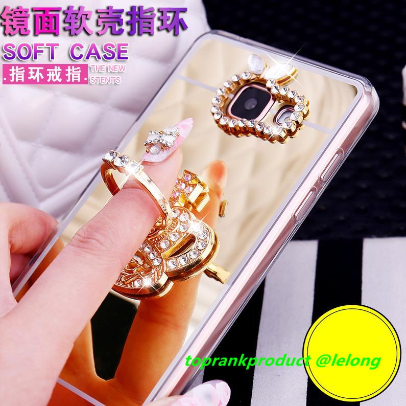 Samsung Galaxy C9 Pro Diamond Mirror TPU Ring Holder Case Cover Casing