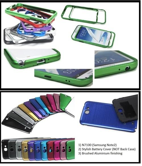 Samsung Note2 N7100 Aluminium Bumper Case + Matching Battery Cover
