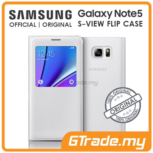 Samsung Official Original S-View Flip Cover Case | Galaxy Note 5 White