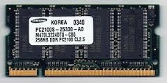 SAMSUNG PC2100S-25330-A0 CL2.5 256MB M470L3224DT0-CB0 Laptop Ram Memor