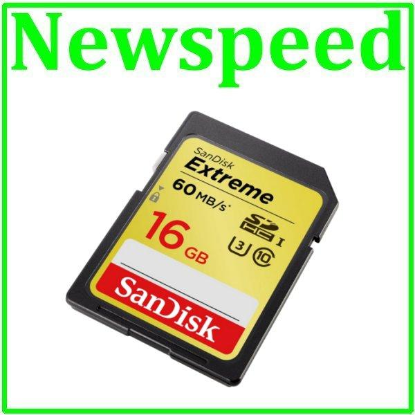 New SanDisk Extreme 16GB SD Card SDHC UHS-I 60MB/s