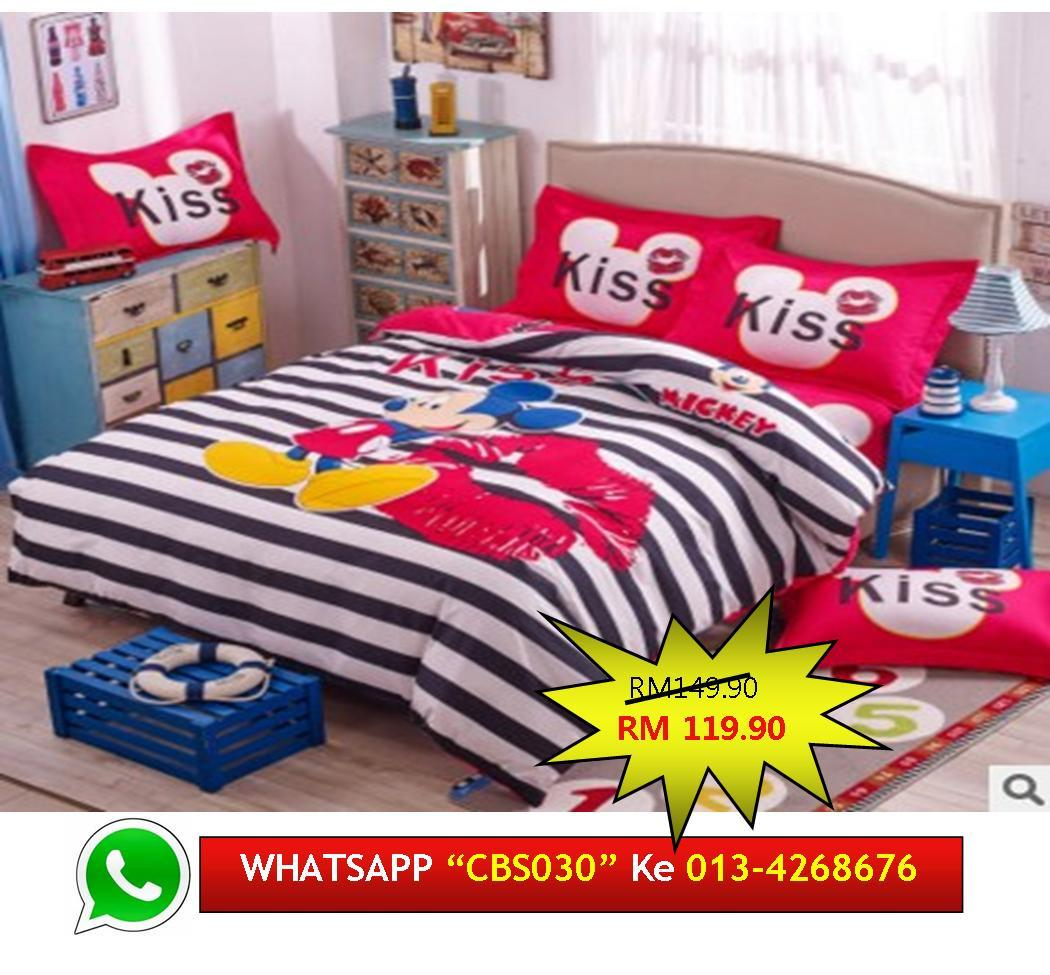 'Save RM30' 4pcs Cadar Queen MICKEY MOUSE Bedsheet Duvet Cover CBS030