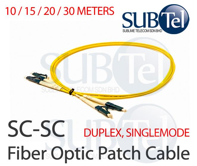 SC-SC Duplex Single Mode Optic Fiber Patch Cord 10M 15M 20M 30M Cable