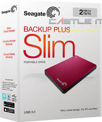 SEAGATE HDD EXT 2.5' USB3.0 BACKUP PLUS SLIM 2TB STDR2000303 RED