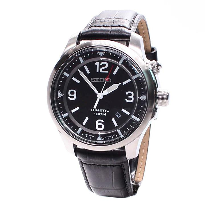 SEIKO SKA689P1 SKA689 KINETIC LEATHER MENS WATCH