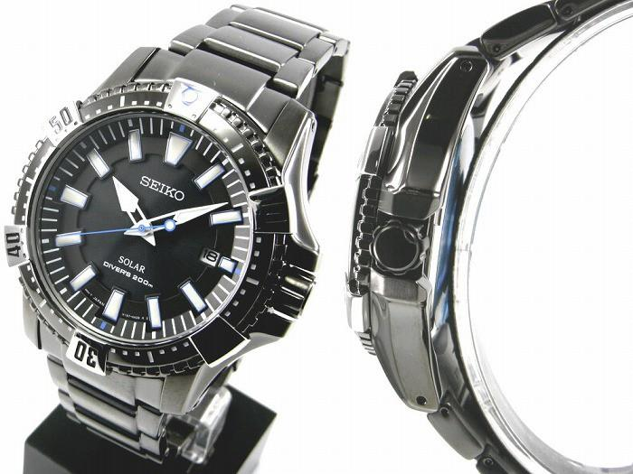 Seiko Solar Diver's Black Ion Steel Black Dial Watch SNE281
