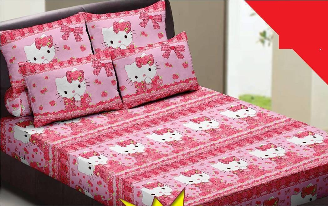 Set Cadar King Fitted 'HELLO KITTY - WHITE' Bedsheet