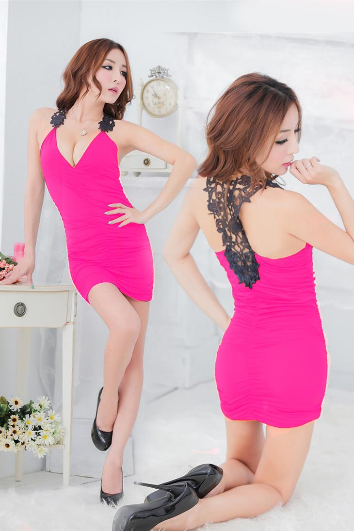 Sexy Beauty-Back Crochet Night Club Dress + Panties (Rose Red)