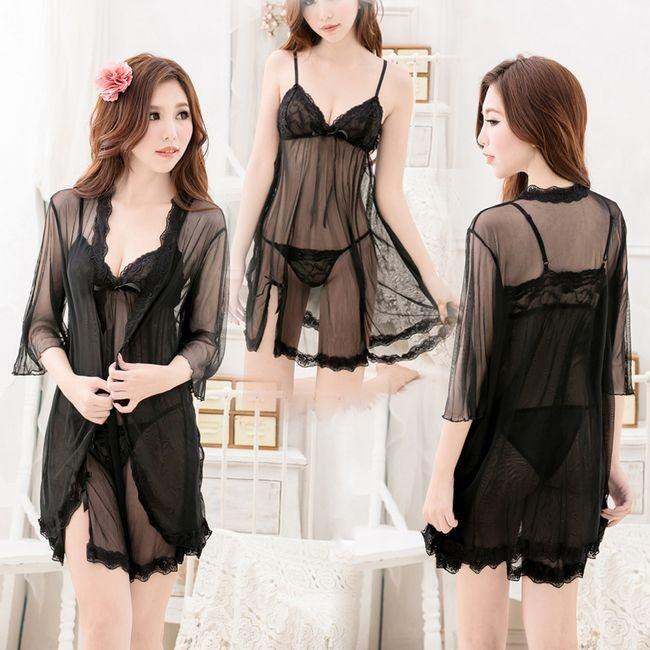 Sexy Black Sheer Lingerie Chemise Sets with Robe # s7009b