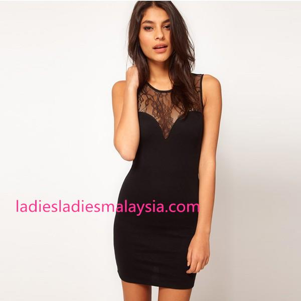 Sexy casual bare back tight dress lace flower
