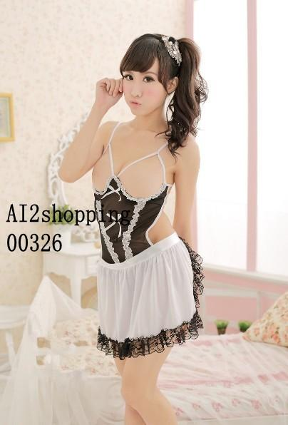 New sexy halter straps sexy maid clothing leotard+Apron00326