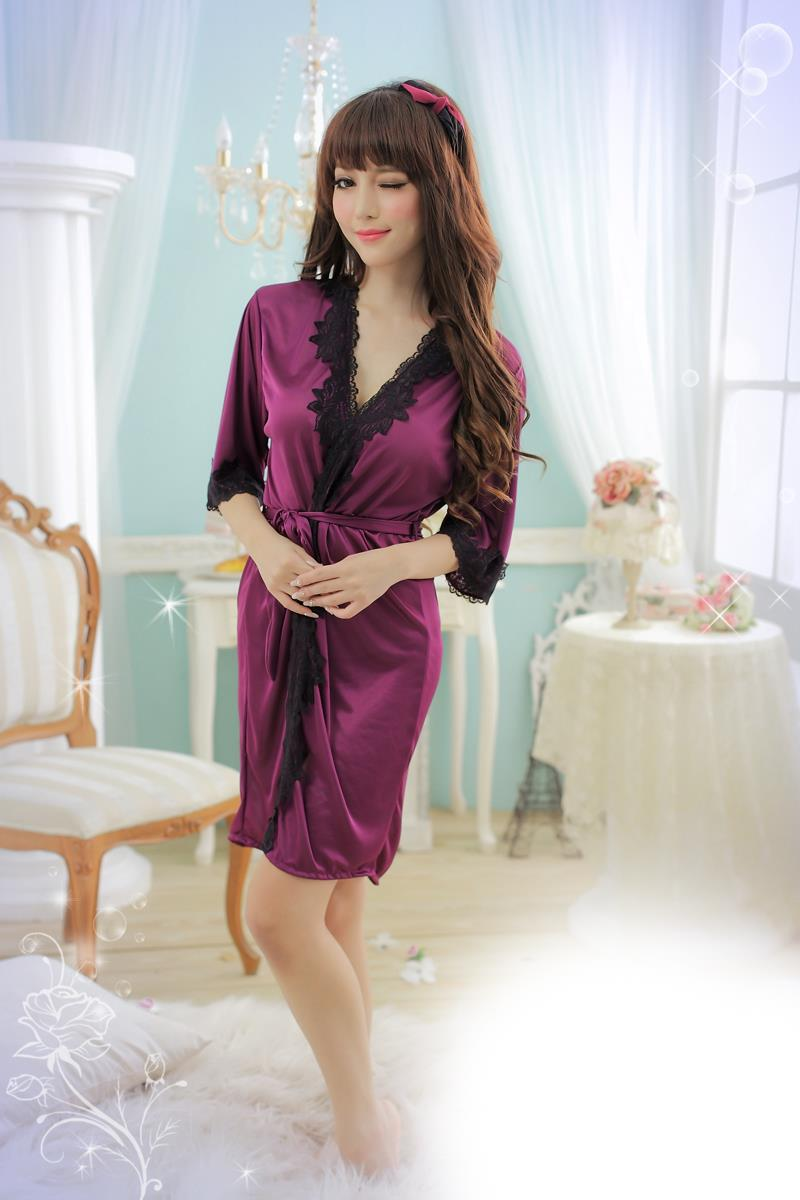 Sexy Lace-side Tie Plated Bathrobes + Belt (Purple)
