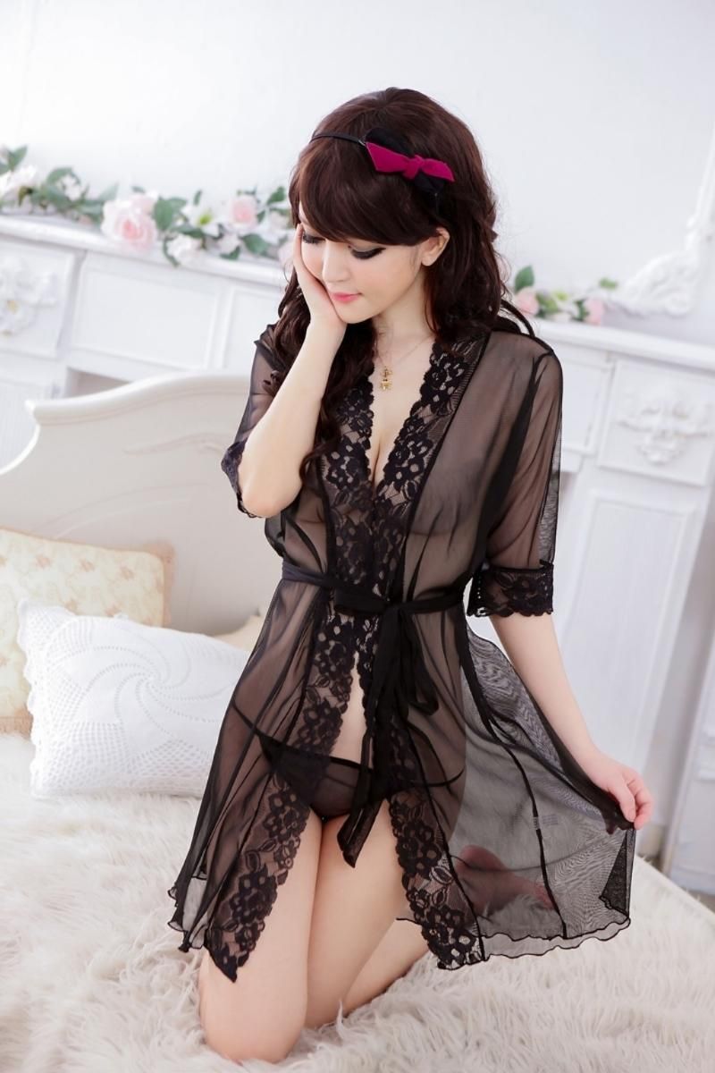 Sexy Lingerie Black Lace Free Size Robes & G string YW622