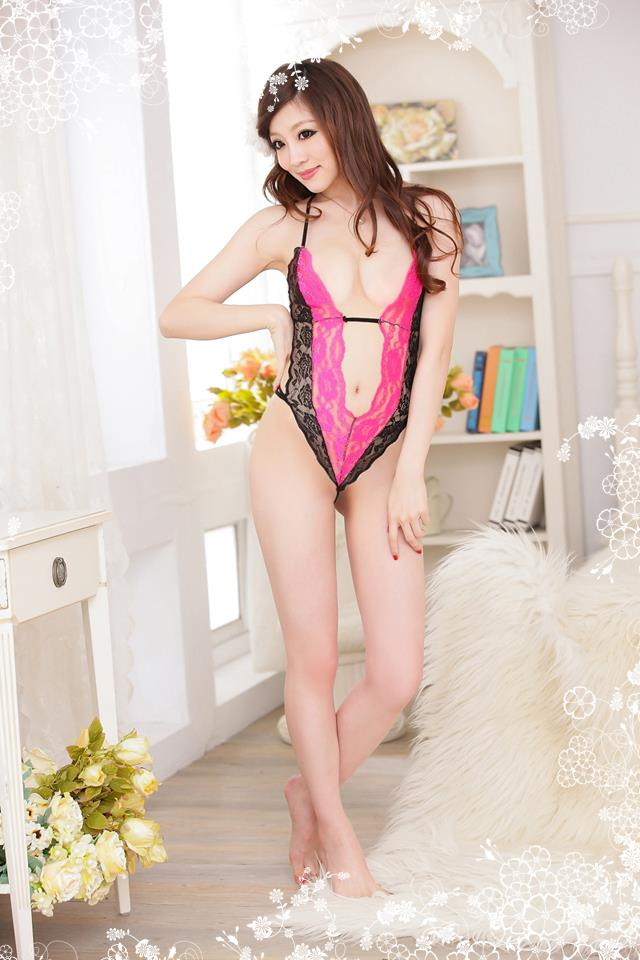 Sexy Lingerie Dark Pink Sleepwear with G-string YW469