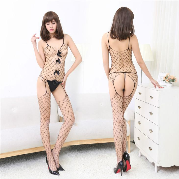 Sexy Ribbon Big Net Fishnet Body Stocking One Suit