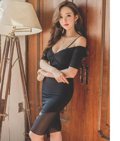 Sexy V Neck Fitting Ladies Dress