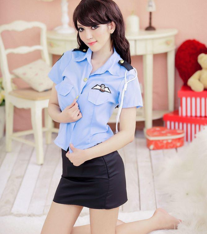 Sexy Women Uniform 8059 - Blue