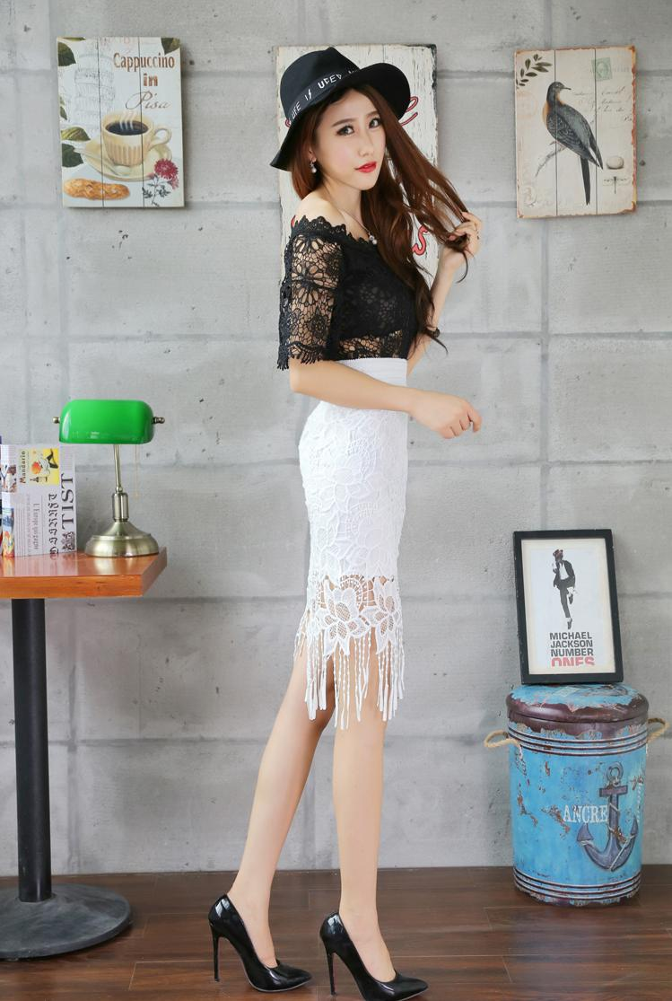 Sheer Lace Midi Skirt Pencil Skirt Ca (end 3/7/2018 4:15 PM)