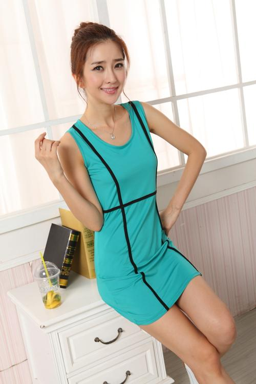 Show-slim Sleeveless Dress (Lake Blue)