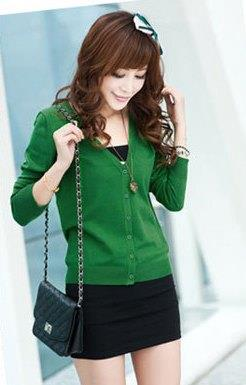 Show-slim V Long Sleeve Knit Jacket (Dark Green)