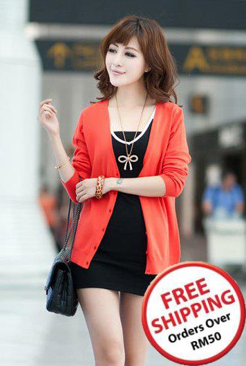 Show-slim V Long Sleeve Knit Jacket (Red Melon) ~ 16841