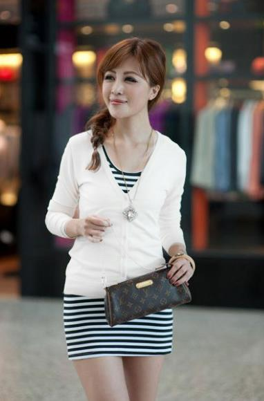 Show-slim V Long Sleeve Knit Jacket (White)
