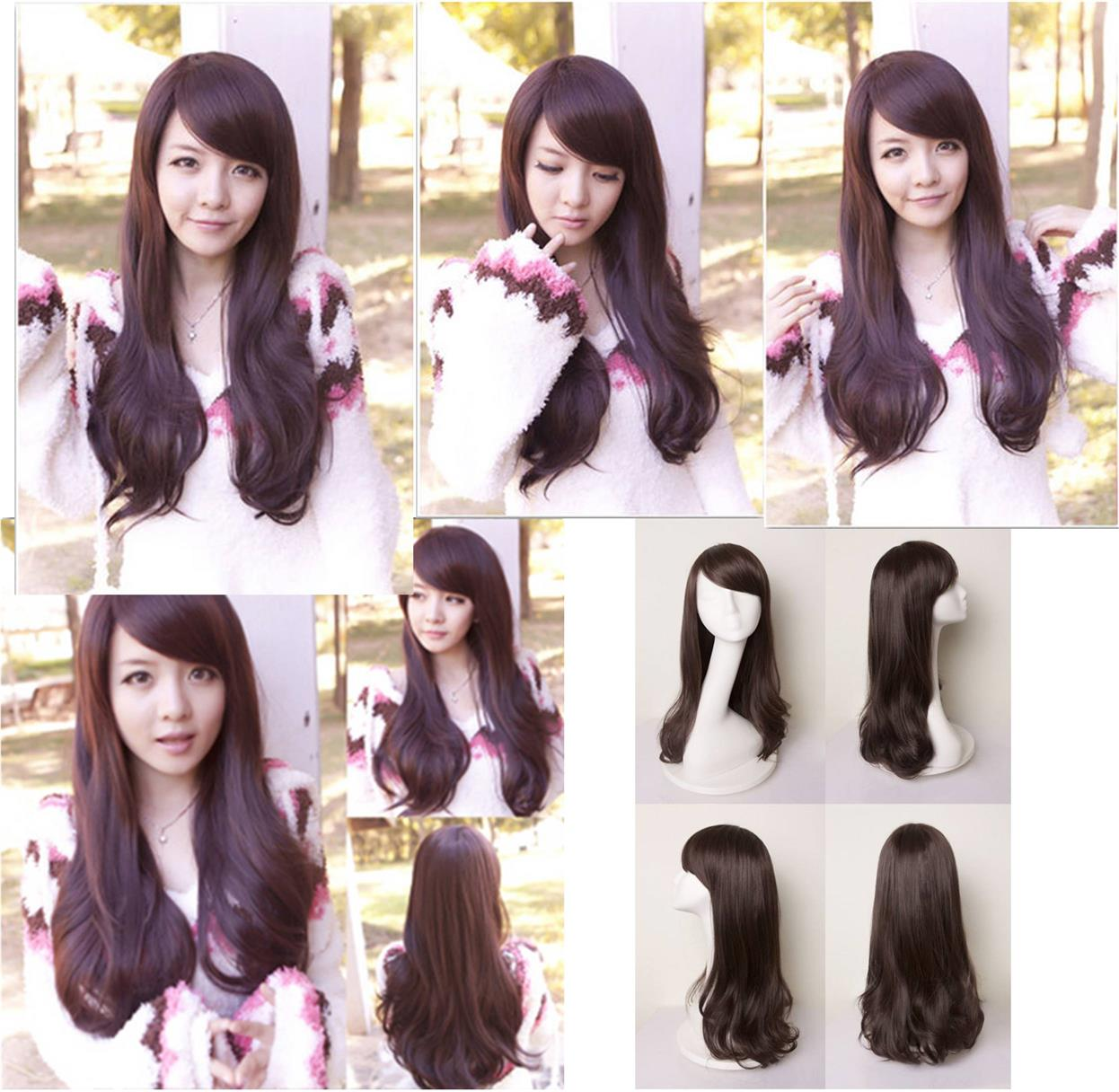 Side bang dark brown long curve wig* ready stock 16-rambut palsu