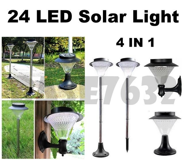 SILVER  24Led 24 Led Solar Garden Wall Ground Light Cool White Warm
