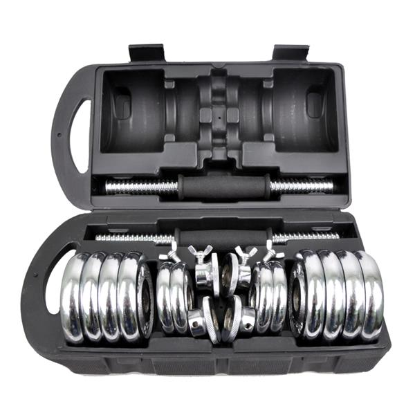 Silver Chrome Fitness Dumbbells 15kg Double Safety NonSlip Rubber Grip