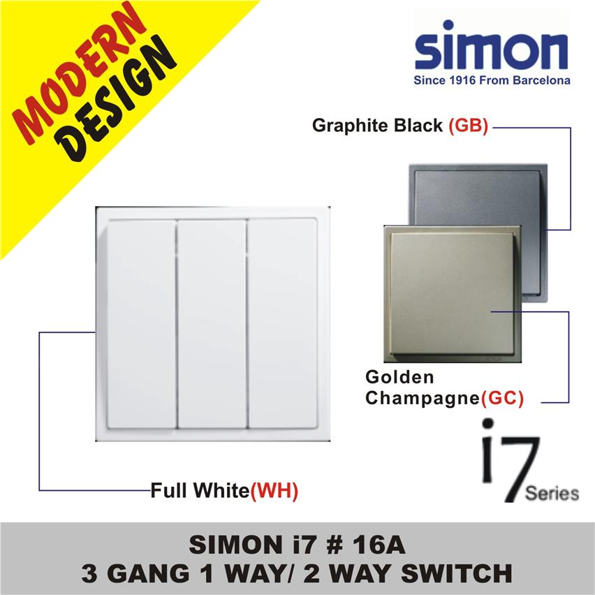 SIMON i7 #  16A 3 GANG 1 WAY / 2 WAY SWITCH