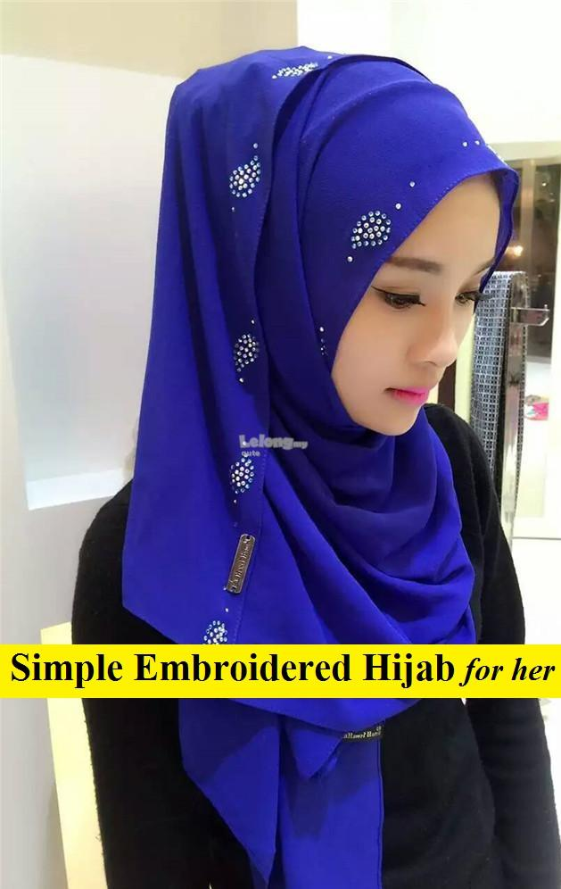 Simple Embroidered Hijab for women
